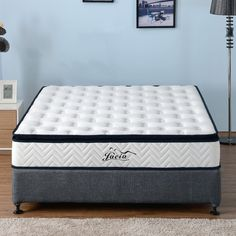 Pure natural latex mattress pillow top thickness premium knitted fabric pocket spring medium support all sizes available Latex Mattress, Pillow Top Mattress, Natural Latex, How To Get Money, King Size, Knitted Fabric, Biodegradable Products, Eco Friendly, Bedding