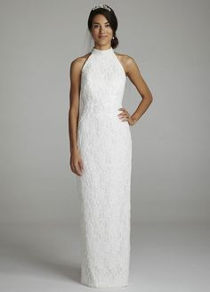 high neck halter wedding dresses | ... gowns, bride, dresses, chiffon, lace, long, halter, high neck, formal