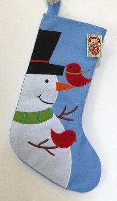 Christmas Traditions Felt Christmas Stocking - Snowman with Red Birds by Peking Handicraft, http://www.amazon.com/dp/B00DPO82GW/ref=cm_sw_r_pi_dp_boobsb1WYFCWT