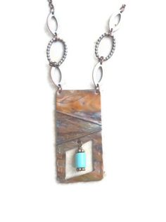 Turquoise Jewelry Copper Necklace Birthstone Long Fold Formed Flame Painted.