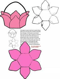 Cartamodello del cestino a forma di fiore cartamodello - Modello di base del fiore ...
