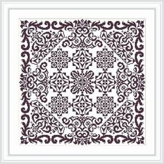 Cross stitch pattern PDF Instant download - Antique lace square - one color embroidery ONLY PATTERN The chart is based on a magazine schemes. Individual element of this chart are selected from old magazines, the composition of ornaments is unique. Stitched area: 189w X 189h Stitches