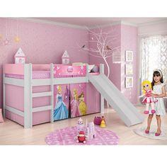 Cama com escorregador torre e tunel c tenda lilas - Camas infantiles de princesas ...