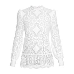 Hillier Bartley High-neck lace blouse ($600) ❤ liked on Polyvore featuring tops, blouses, blusas, white, white lace blouse, floral blouse, long sleeve lace top, white long sleeve top and white blouse