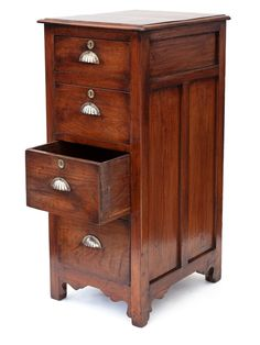 Gutsy polished walnut shop chest with panelled sides and back. Four graduated drawers with original brass scallop handles and escutcheons. Antiques Online, Selling Antiques, Salvage Hunters, Camden Passage, Campaign Furniture, Saved Items, Inspirational Gifts, Filing Cabinet, Gifts For Him