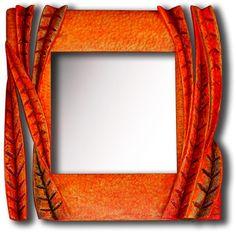 Zrcadlo Listy 2012, š: 40 x v: 40 cm, dřevo lipové, namořené, olejové barvy, vosková patina. Možnost vyrobit variantu ve tvarech i barvách.