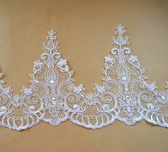 Corded Floral Lace Edging Ivory Lace Trim Embroidered by LaceNTrim