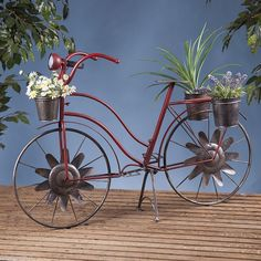 Bicycle Plant Stand Patio Decor Basket Vintage Outdoor Planter Decorative New   #Unbranded