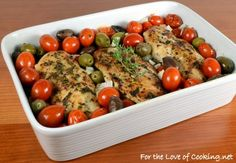 Baked Mediterranean Chicken Breasts with Tomatoes, Olives, Capers, and Garlic Recipe Main Dishes with boneless skinless chicken breasts, fresh thyme leaves, fresh basil, dried oregano, garlic powder, cracked black pepper, sea salt, olive oil, grape tomatoes, olives, yellow onion, capers, garlic