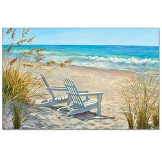 Beach Chairs Palette, Tile Mural - Tile Murals - by Backsplash Innovations Beach Canvas, Canvas Art, Canvas Prints, Pictures To Paint, Beach Pictures, Beach Scene Painting, Beach Paintings, Beach Artwork, Blue Painting