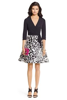 DVF Amelia Silk Combo Flared Wrap Dress In Black/ Feather Leopard Black