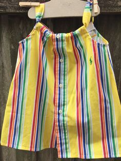 Bright, crayon colored dress, size 2-3 made from men's shirts. Daddy's Button Shirt $22