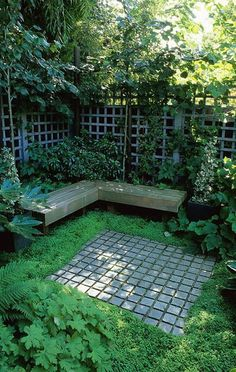42 Ideas for small gardens – Balconies Shady seating luxuriantly planted in a composed town garden designed by Acres Wild. Like the use of repeated squares in designing a space space. Back Gardens, Small Gardens, Outdoor Gardens, Outdoor Rooms, Modern Gardens, Small Courtyard Gardens, Balcony Gardening, Formal Gardens, Indoor Garden