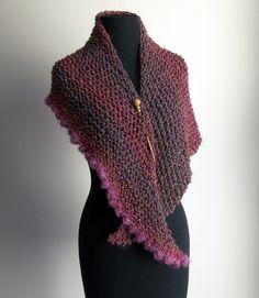 Hand Knit Asymmetrical Shoulder Shawl Scarf Cowl Wrap, Stylish Comfort Prayer Meditation, French Rose Pink, Ready to Ship FREE SHIPPING
