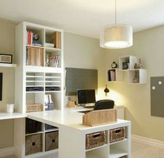 I would need more shelving and it needs to be set up to accommodate an office and craft room, but I like the setup having two desks and a center craft table.