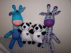 Sock Giraffes and Glove Panda Friends