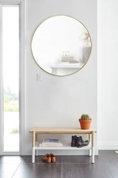 Umbra Hubba Wall Mirror | Shop Modern Round Mirrors Entryway Mirror With Hooks, Large Round Wall Mirror, Wall Mounted Mirror, Round Mirrors, Bathroom Wall Decor, Bedroom Wall, Mirror Bedroom, Bedroom Ideas, Bedroom Decor