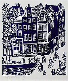 Linocut, Amsterdam, Singel - Weide hijsteeg