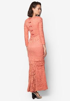 Baju Kurung Moden Lace Feat Ribbon to Back - Vercato Valentina from VERCATO in pink_1