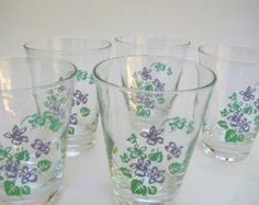 5 Sweet Spring Violets Vintage Glasses