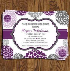 Bridal Shower  Invitation / Baby Shower Invitation / Event Invitation, Purple & Grey. $18.95, via Etsy.