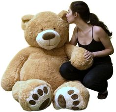 Giant 5 Foot Teddy Bear Soft Big Plush 60 Inch Brown Beige Ultra Soft Valentines For Great Deals, Visit http://www.ebay.com/usr/usa-select-commerce #GiantTeddyBear #TeddyBear #Valentines #ValentinesGift #5FootTeddyBear #SoftBigTeddyBear #UltraSoft #ValentinesGift #Love #Gift #VerySoft #toys