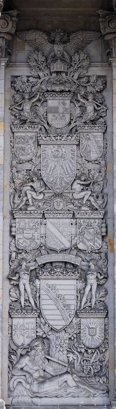 Berlin Reichstag 1894, Wappen der Länder des Kaiserreichs; linkes Relief