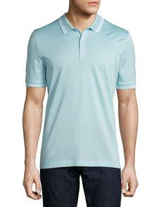Tape-Tipped Short-Sleeve Polo Shirt, Light Blue - Salvatore Ferragamo