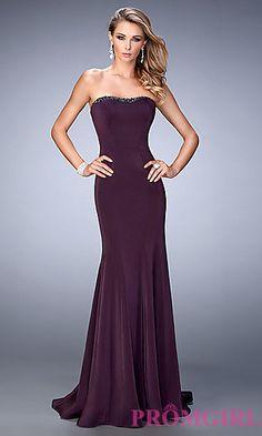 Long Strapless La Femme Jersey Prom Dress at PromGirl.com