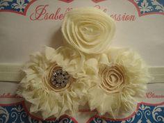Newborn, Infant, Toddler, Girl, Ivory, Triple Shabby Flower Headband. $12.00, via Etsy.