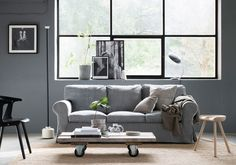 Grey scandinavian inspired living room with industrial style images | grey velvet sofa | IKEA Ektorp sofa with a Bemz cover in Zinc Grey Malmen velvet | Styled by Pella Hedeby, photographer Sara Medina Lind