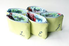 Personalized Cosmetic Bags, Monogram Hand Stitching (so cute for bridesmaids!)