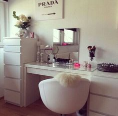 makeup - IKEA malm storage for make up/hair dryer etc | Tumblr