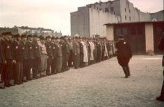 Lodz, Poland, Jewish firefighters at roll-call in the ghetto