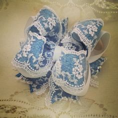 Denim and Lace Bow $10