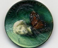 """copper pennies are used as miniature canvases for oil paintings titled """"Tondi Observations"""" by Indiana artist Jacqueline Lou Skaggs."""