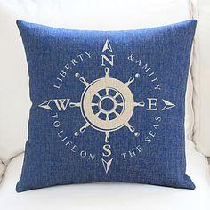 """18"""" 20"""" Nautical Compass Sign Blue Cotton/Linen Decorative Pillow Cover – CAD $ 17.85"""