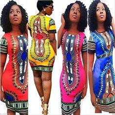 Kwok Traditional African Print Dashiki Bodycon Short Sleeve Dress -- You can find more details at http://www.amazon.com/gp/product/B01DUARM0M/?tag=passion4fashion003e-20&mn=110816035715