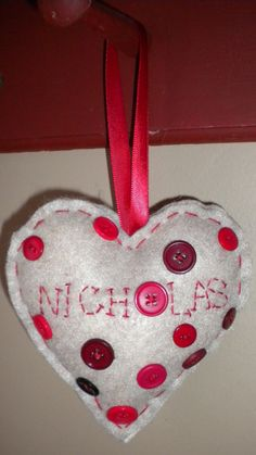 Personalized Felt Valentine Hearts with buttons by NOELSbyNATALIE, $10.00