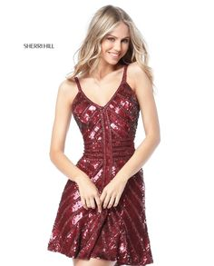 Shop Sherri Hill short sequin v-neck homecoming dresses at PromGirl. Sleeveless designer semi-formal dresses and little party dresses with sequins, beading, and v-necklines. Sequin Cocktail Dress, Sequin Party Dress, Sherri Hill Short Dresses, Short Fitted Dress, Fitted Bodice, Semi Formal Dresses, Elegant Dresses, Buy Dress, Homecoming Dresses