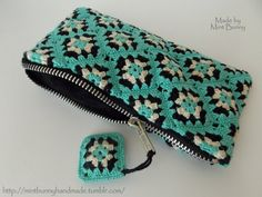 mini granny square zipper pouch