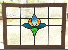 """OLD LEADED STAINED GLASS WINDOW TRANSOM LOTUS BLOSSOM DESIGN 26"""" x 18.5"""""""