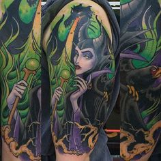 This tattoo of one of Disney's most evil characters was inked by Chad Lenjer. #InkedMagazine #Disney #villain #tattoo #art