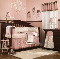 CoCaLo Daniella Baby Girl's Pink and Brown Crib Bedding 8 Piece Nursery Set