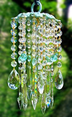 Crystal wind chime...clear and aqua glass