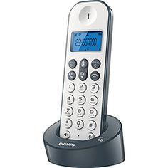 Telefone sem Fio Cinza Philips D1211WG/BR com Identificador de Chamadas e Viva Voz