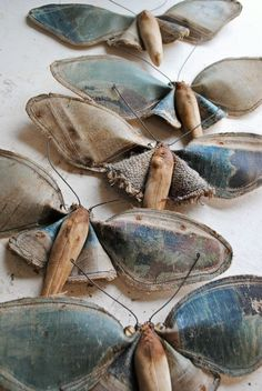Mister Finch moths, made from a re-used oil painting - spectacular as usual!
