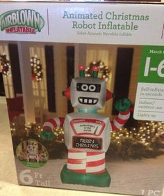 GEMMY ANIMATED 6' TOY ROBOT Merry Christmas Airblown Inflatable Yard Decor