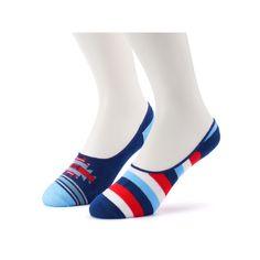 Men's 2-Pack Patterned No-Show Liner Socks, Blue (Navy)