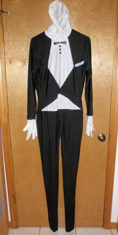 Tuxedo Costume Adult Halloween Cosplay Butler SECOND SKIN BODY SUIT - NEW!